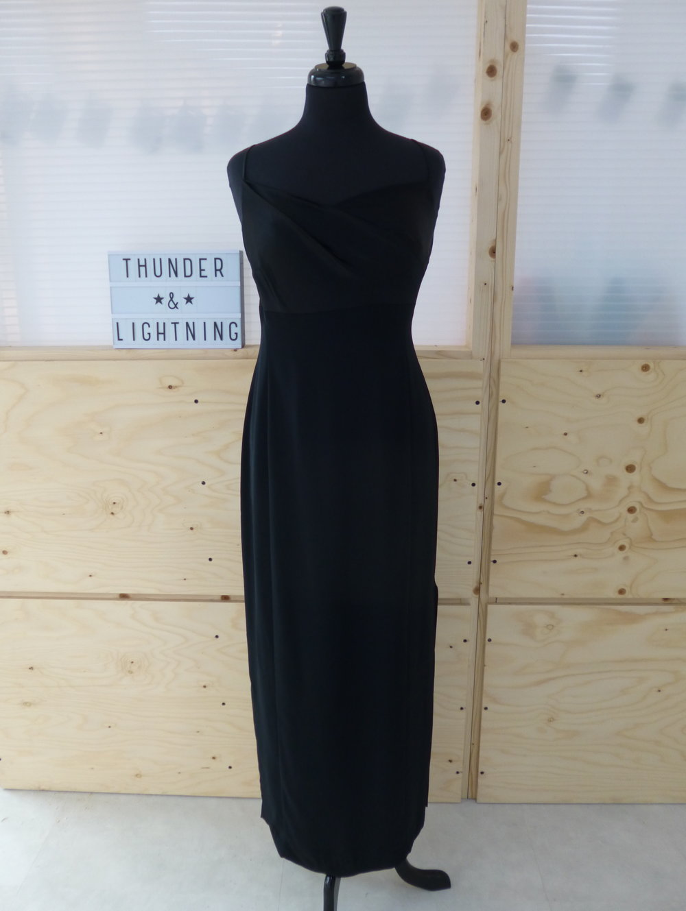 Black Satin Crepe Maxi Dress Size 14-16