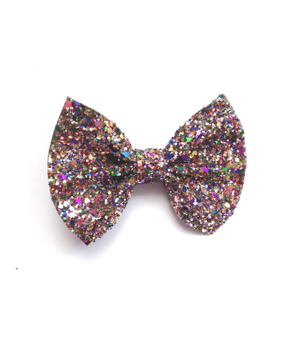 Crown & Glory Small Glitter Bow Hair Clip available in Starry Skies & Kalidescope