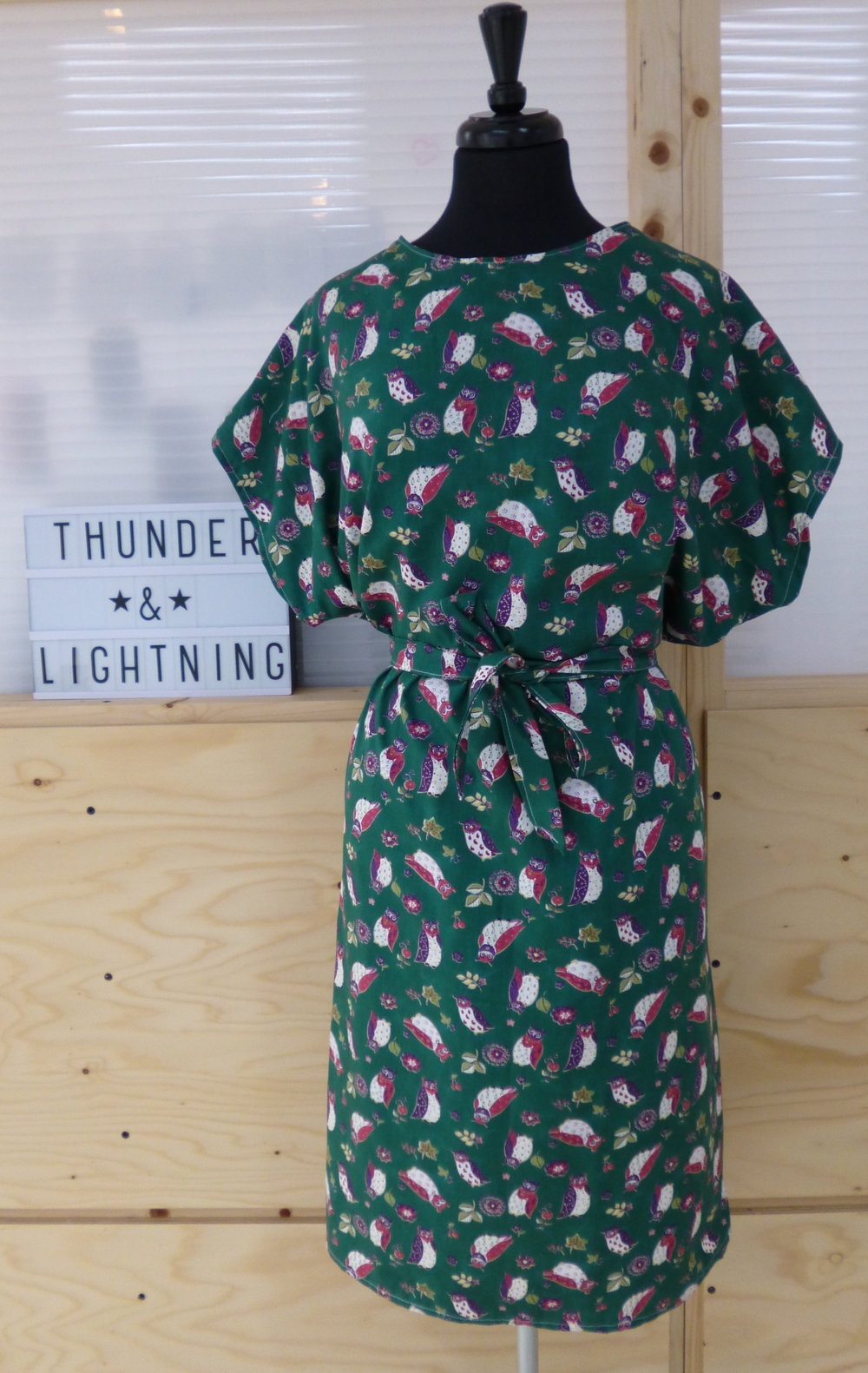 Green Owl Print 40's Style Dress - Size XL - By Vintage Style Me - £53.00