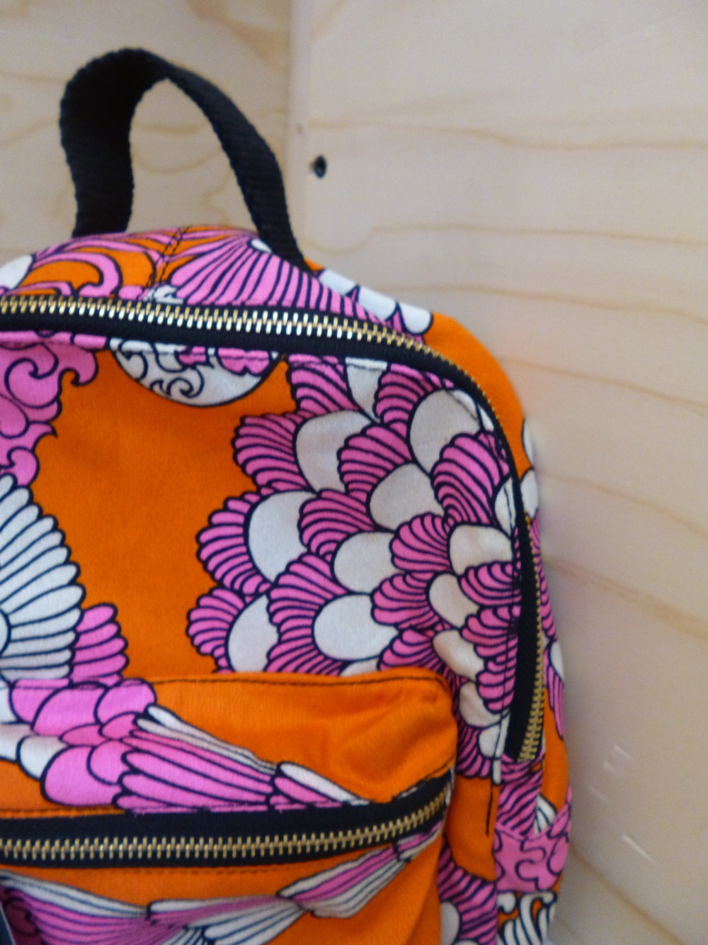 Beyond Retro Mini Dome Back Pack Orange Pink Fan Print