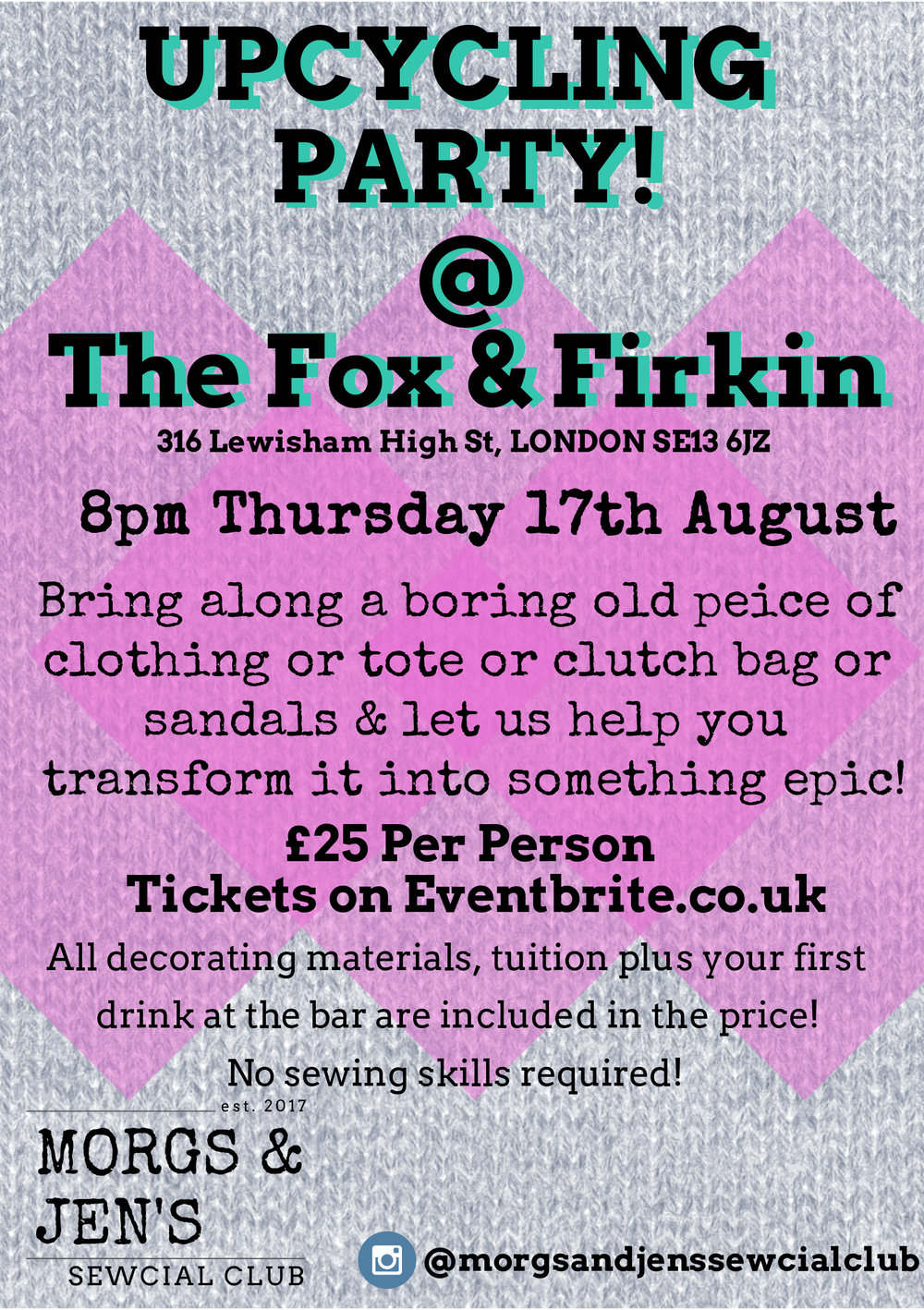 Upcycling party fox firkin poster