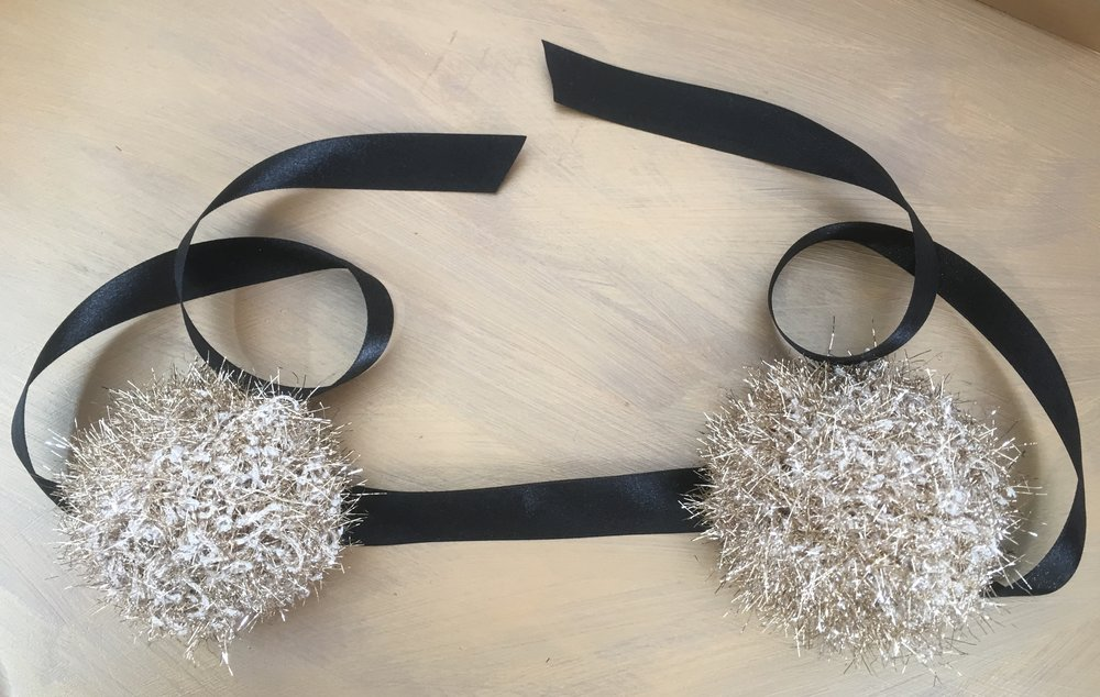 gold pom pom headband