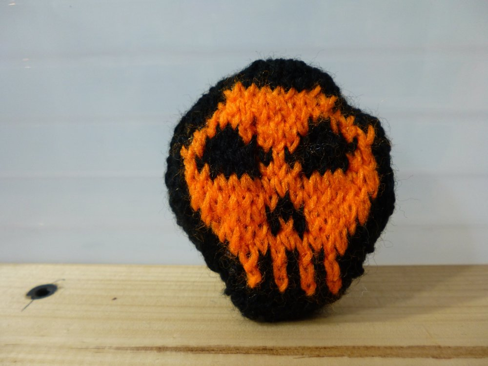 Orange Skull Brooch