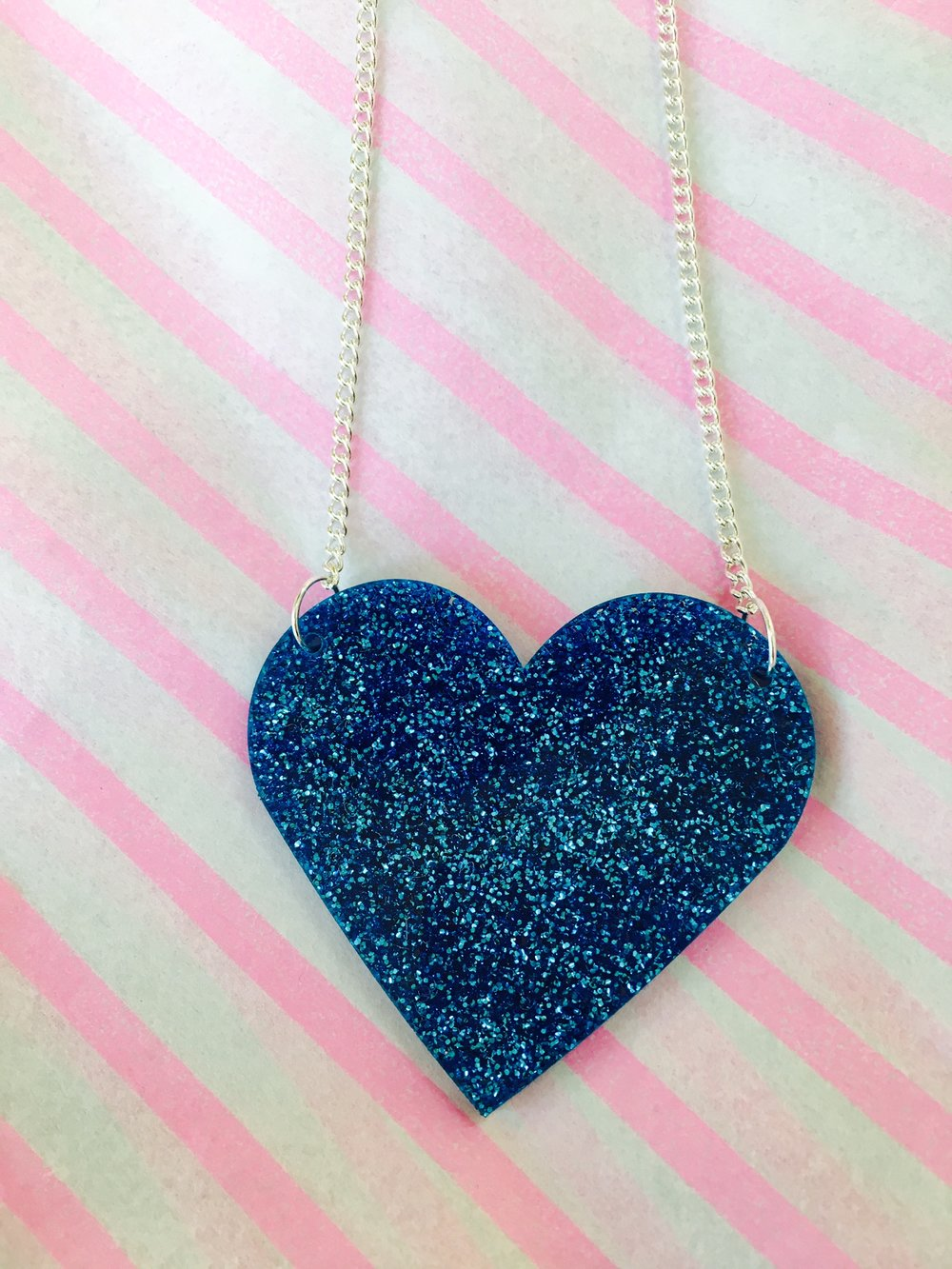 Blue Glitter Acrylic Heart Necklace - Handmade in Hackney, London by From Nic Love // £35 (also available in Red)