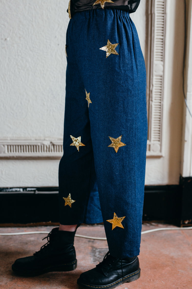 Cosmic Denim Ankle Grazers - Gold Glitter Stars hand stitched onto loose fitting denim cropped trousers by Syd & Mallory // £36 (also available with Red Velvet Hearts)