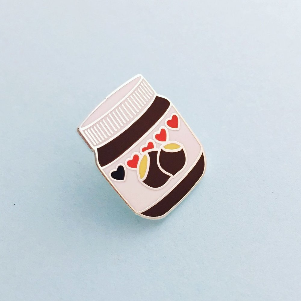 Nutella Enamel Pin - Designed by Hand Over Your Fairy Cakes in Glasgow, an essential for any chocolate spread fan // £7