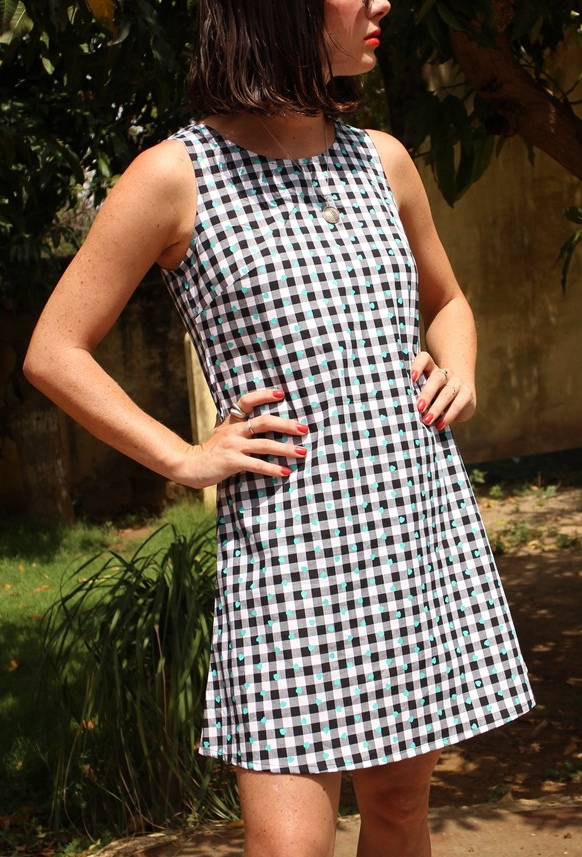 Alexa Gingham Dress with Turq Hearts - Designed in the UK by Krissyfied Boutique & ethically manufactured in India, made of cotton gingham with printed hearts // £25 (was £40)