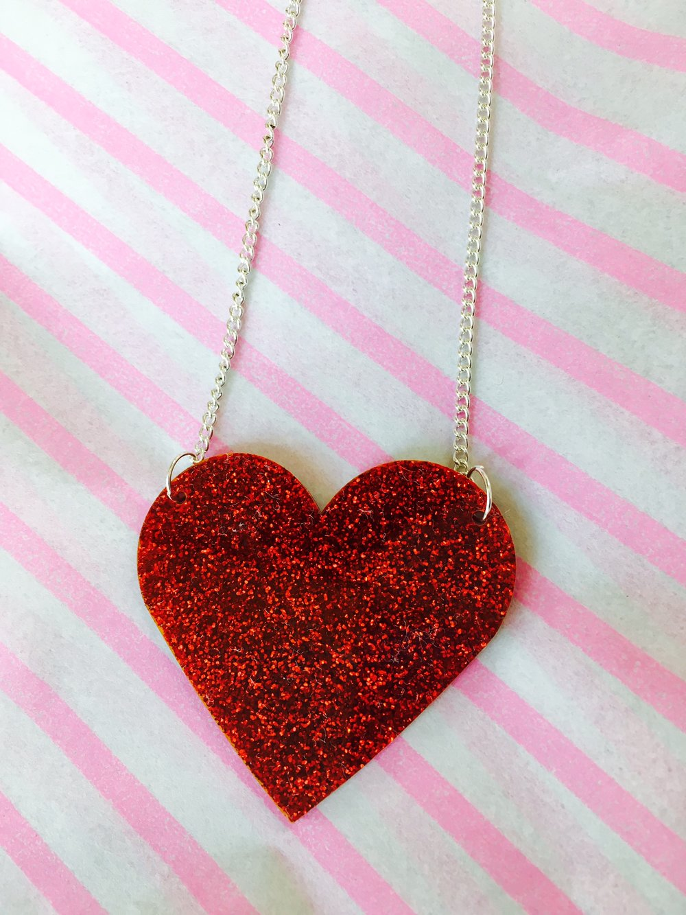 Glitter Red Acrylic Heart Necklace - Handmade in Hackney, London by From Nic Love // £35 (also available in Blue)