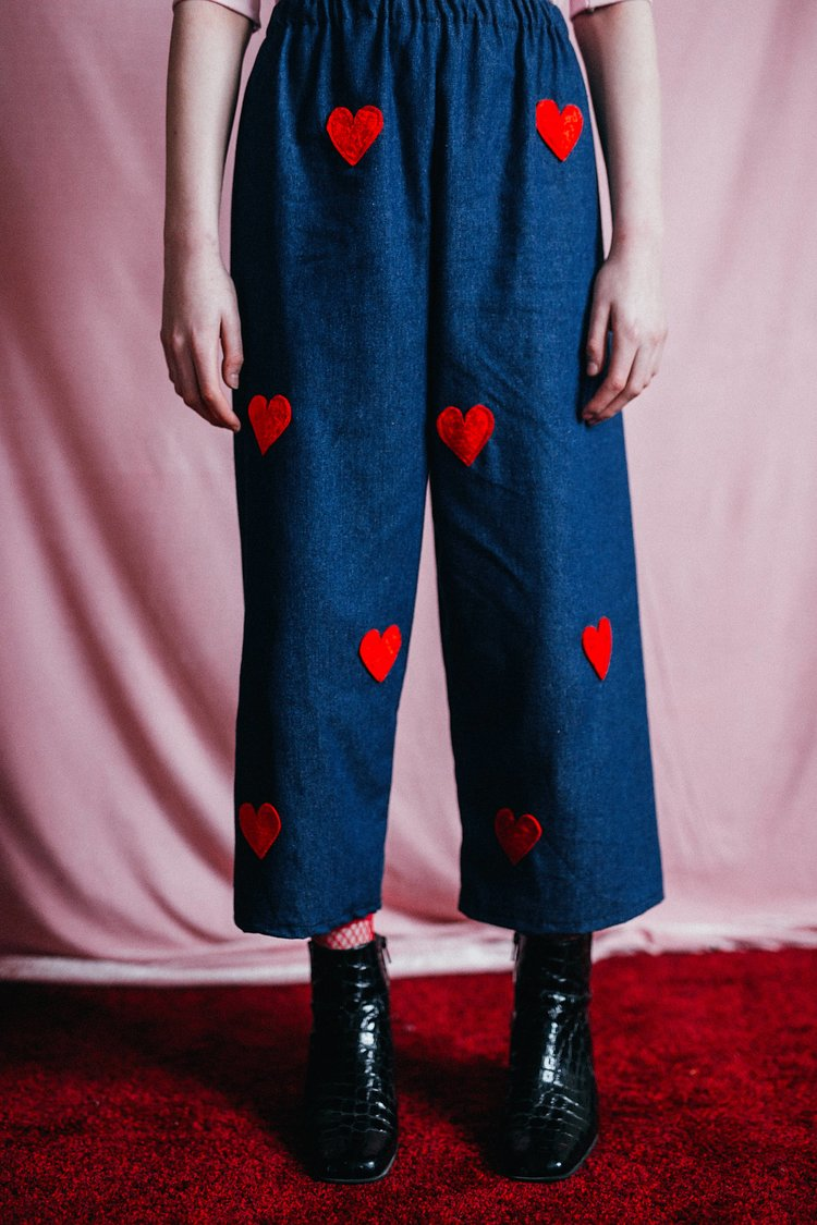 Love You Ankle Grazer - Handmade in Sheffield by Syd & Mallory these easy to wear denim crops are finished with red velvet hearts all over the front // £38