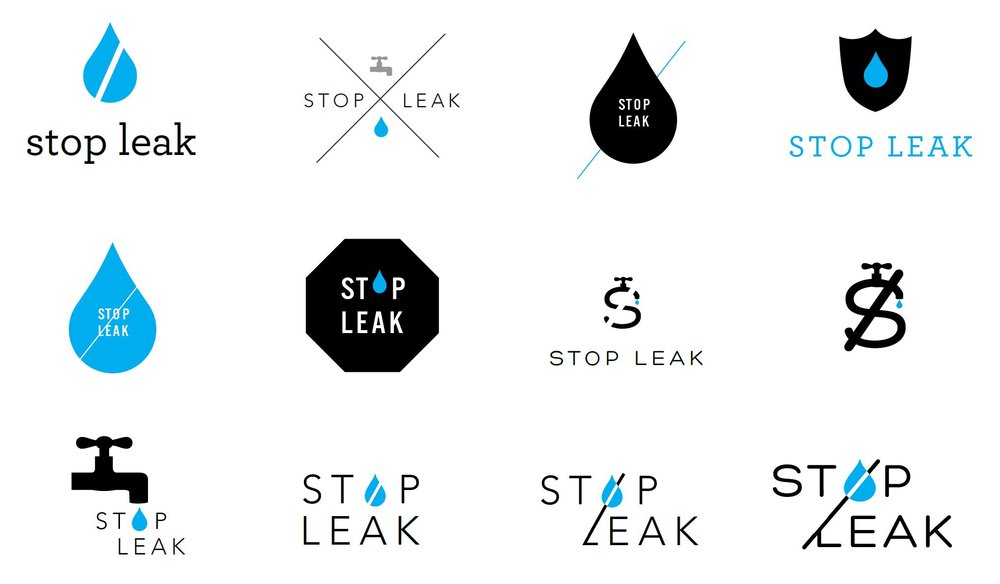 """Icon ideation for """"Stop Leak"""" on AC Pro can"""