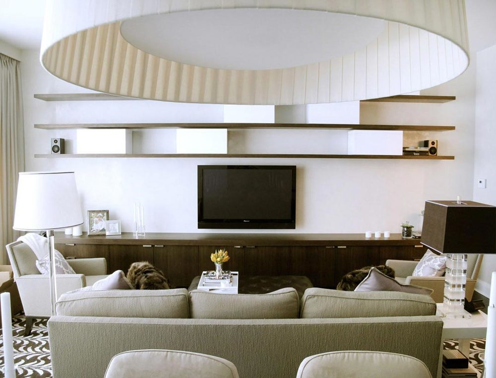 Custom floating wall shelves nyc urban homecraft for Floating wall units for living room