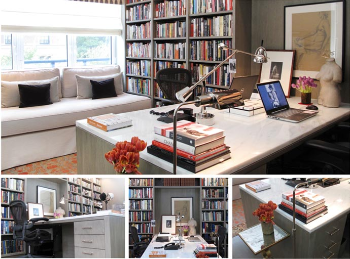 Custom built-in bookshelves for a home office.
