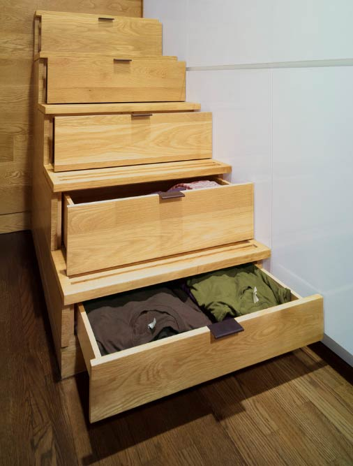 Storage in the stairs- Photo by Jordan Parnass Digital Architecture