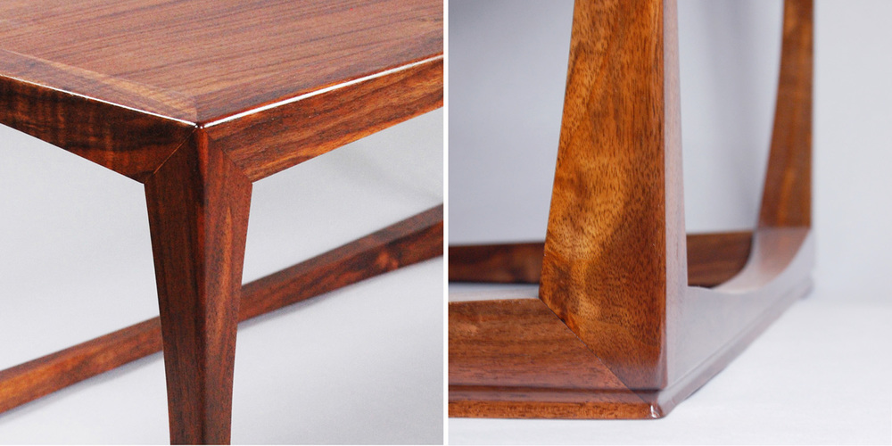 Close up of the joinery and foot detail. Known as a three way miter it is inspired by traditional Japanese joinery. The foot detail gives the entire piece a subtle lift.