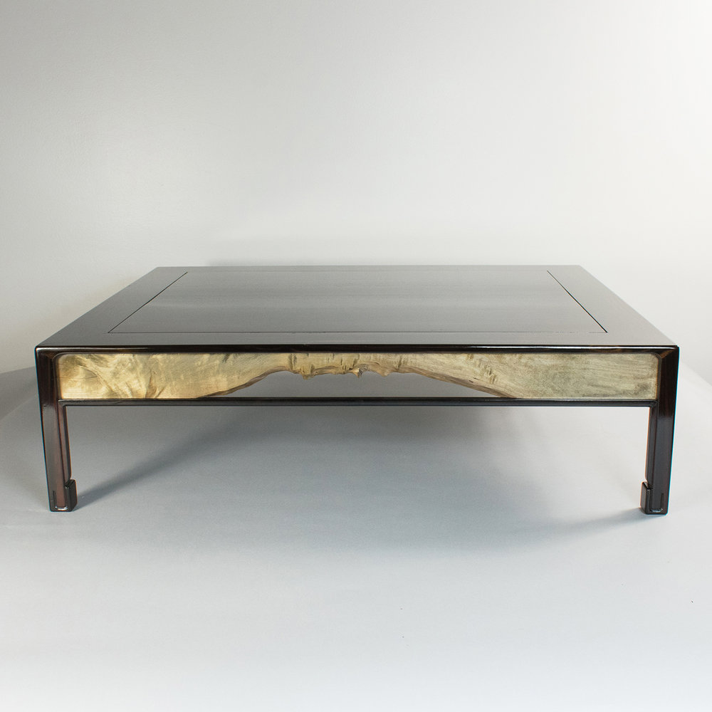 Macassar ebony stand with Japanese maple accents, the Japanese maple has been painted with a vinegar iron solution that causes a chemical reaction tinting it grey.