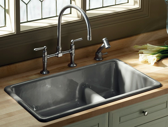 One style of a top mount sink.