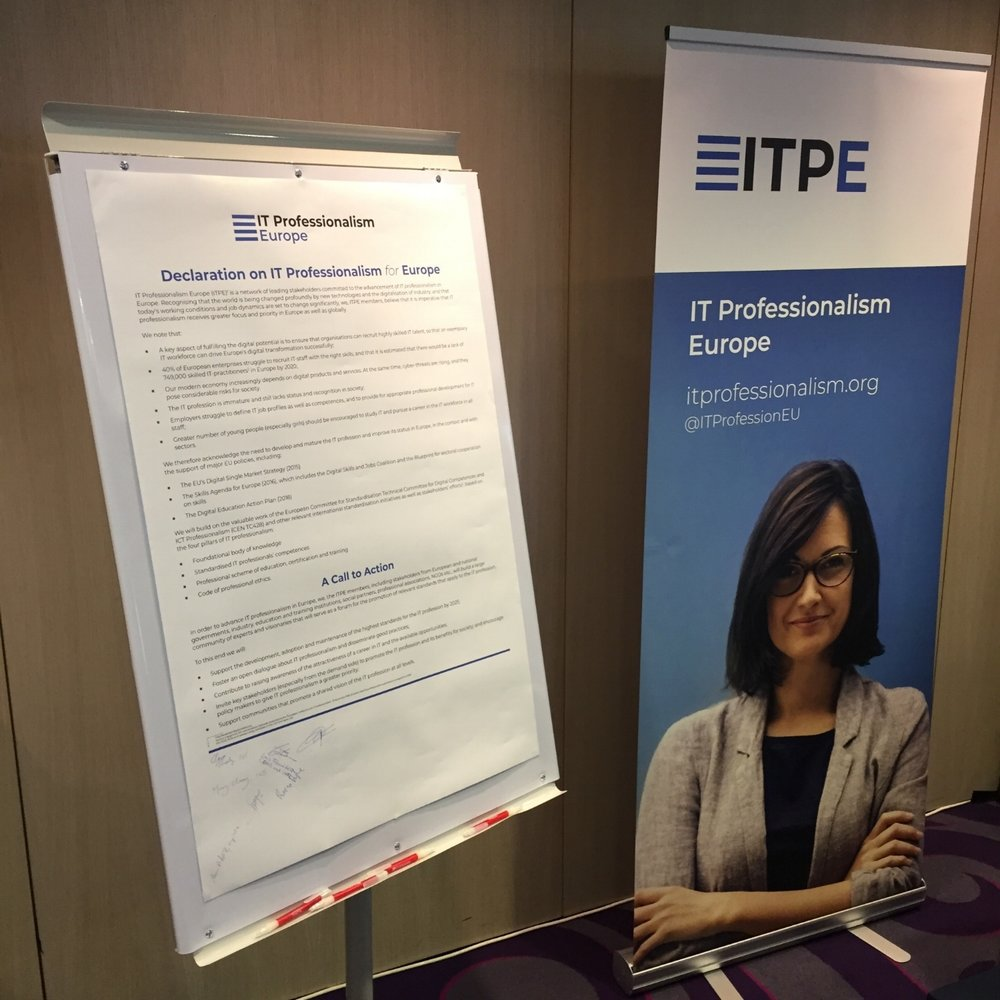 The Declaration on IT Professionalism for Europe on display at the ITPE stand