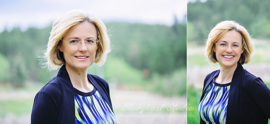 Outdoor business headshots at Evergreen Lake Park