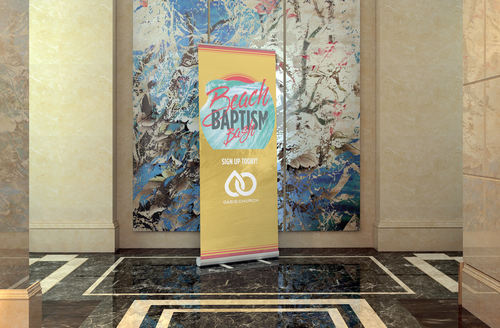 Beach Bash Pull Up Banner - Oasis Church