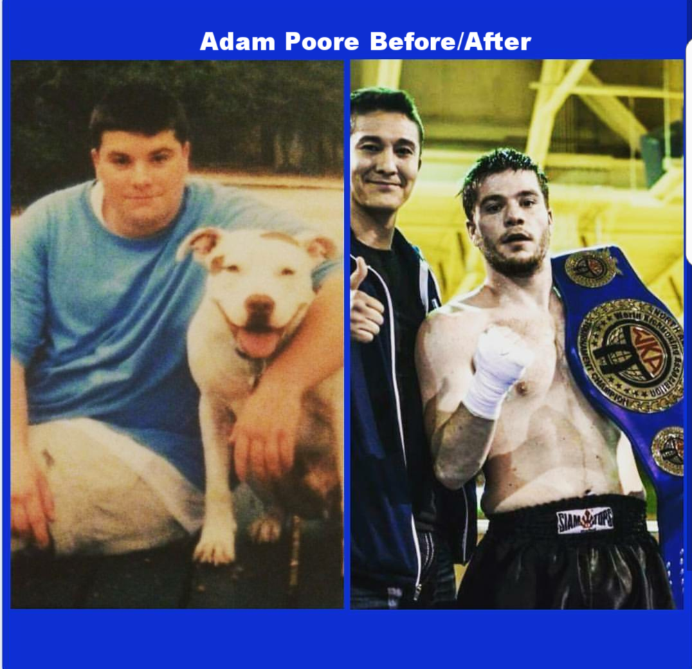 Kickboxing weight loss of Adam Poore before and after