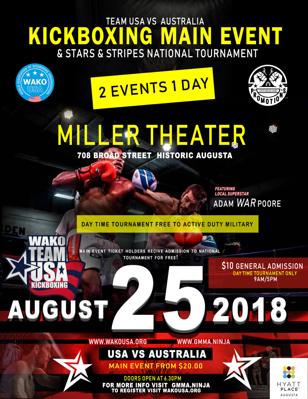 Stars and Stripes National Tournament!3 divisions! - The WAKO Stars and Stripes National tournament will be held on August 25th at the historic Miller Theater, in beautiful downtown Augusta, GA! Augusta's Broad street is the heart of the entertainment district and a short stroll to the Savannah River. It will feature 3 divisions for different experience levels. The winners will be considered to be on the WAKO USA team that will represent America in the Pan Ams. Tickets On Sale July 27!