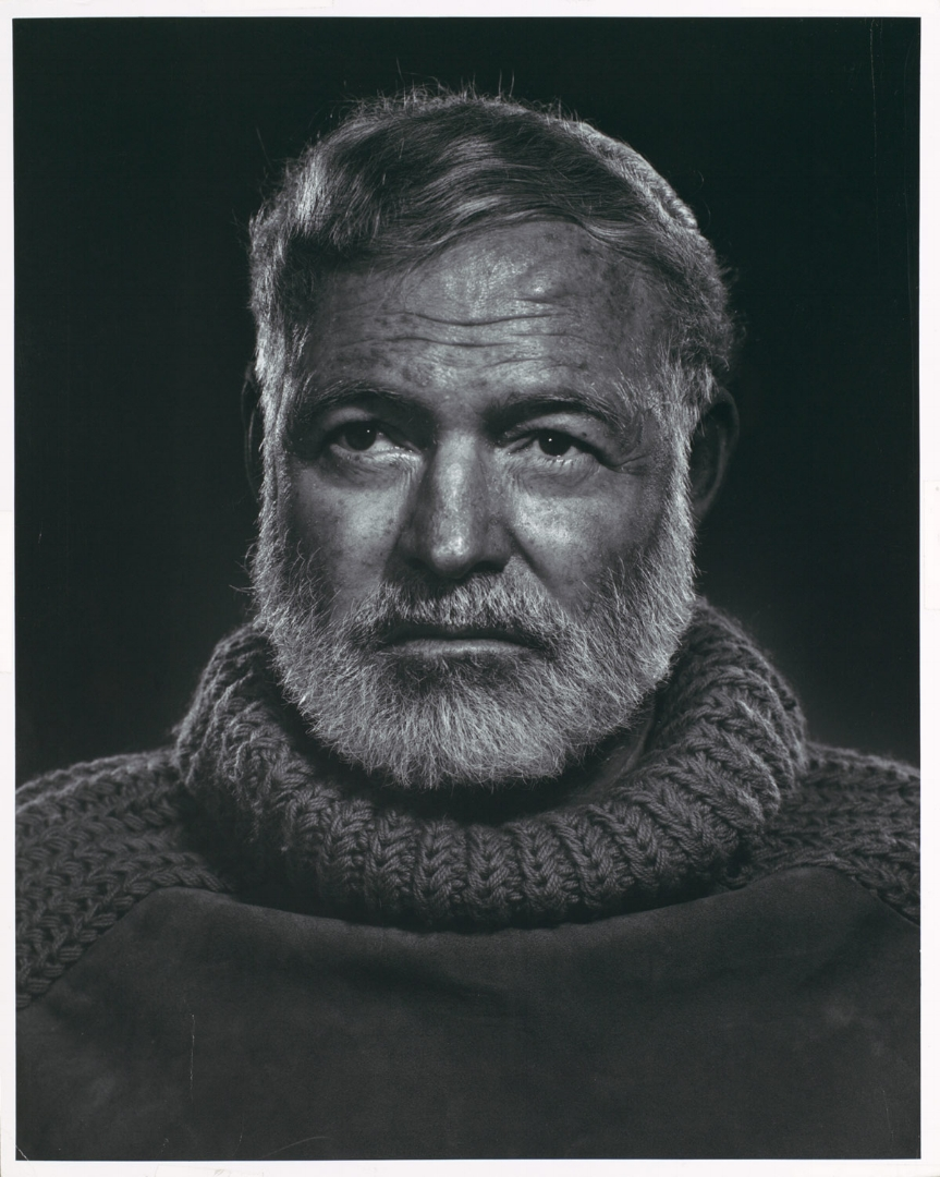 Ernest Hemingway - A farewell to the mustache, Hemingway ushers in a beautiful beard captured by my favorite portrait photographer, Yousuf Karsh.