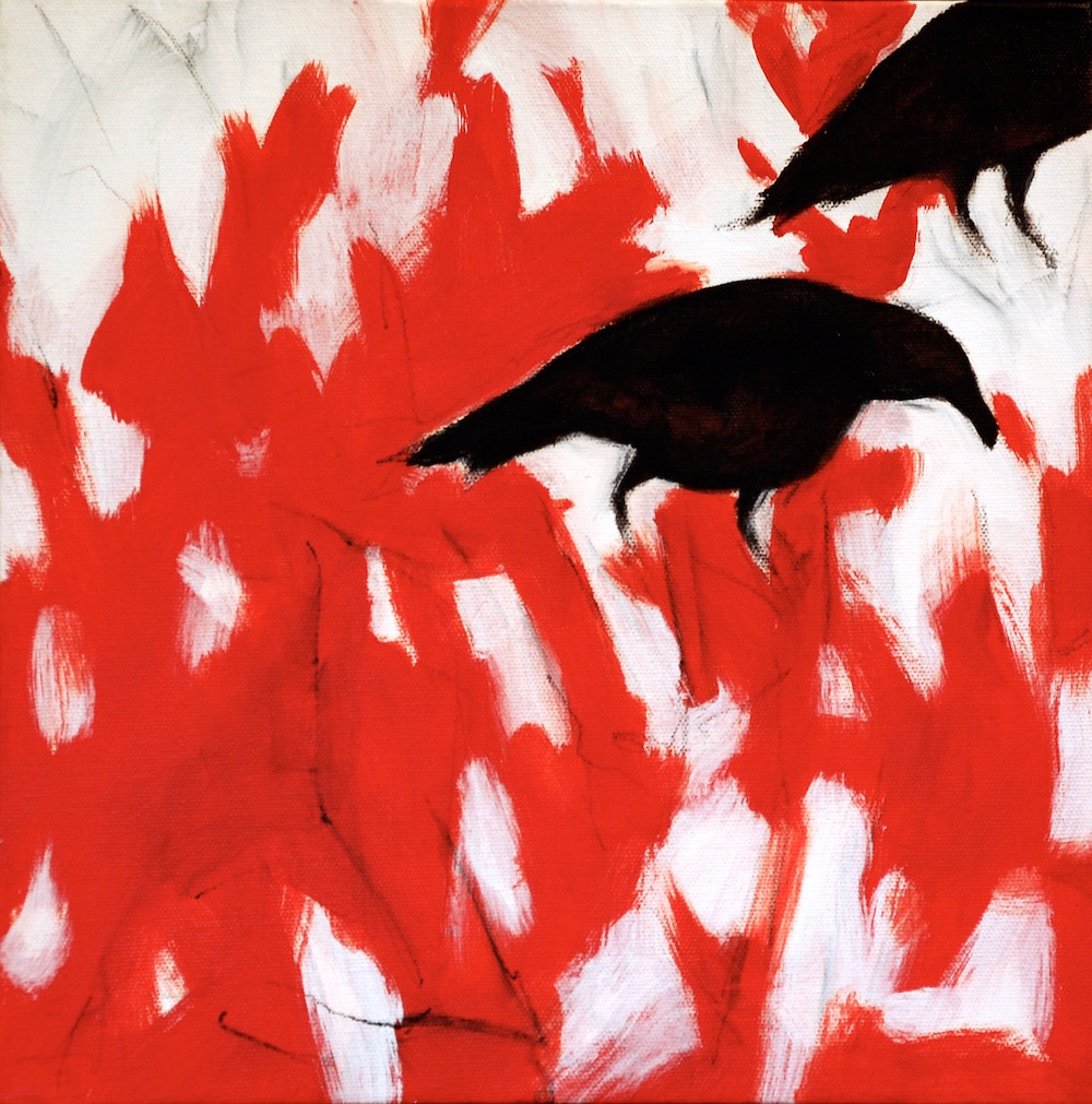 Crows in Grass, Red (12x12).jpg