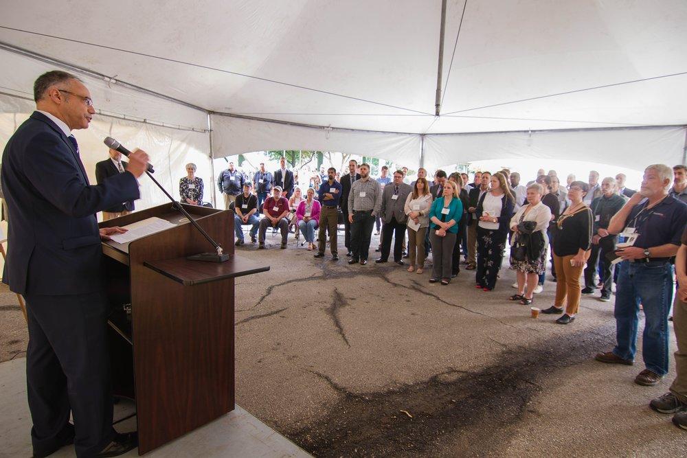 Kansas Secretary of Commerce Antonio Soave delivers remarks at PROSOCO's Solar Works celebration on April 18, 2017. Photo courtesy PROSOCO