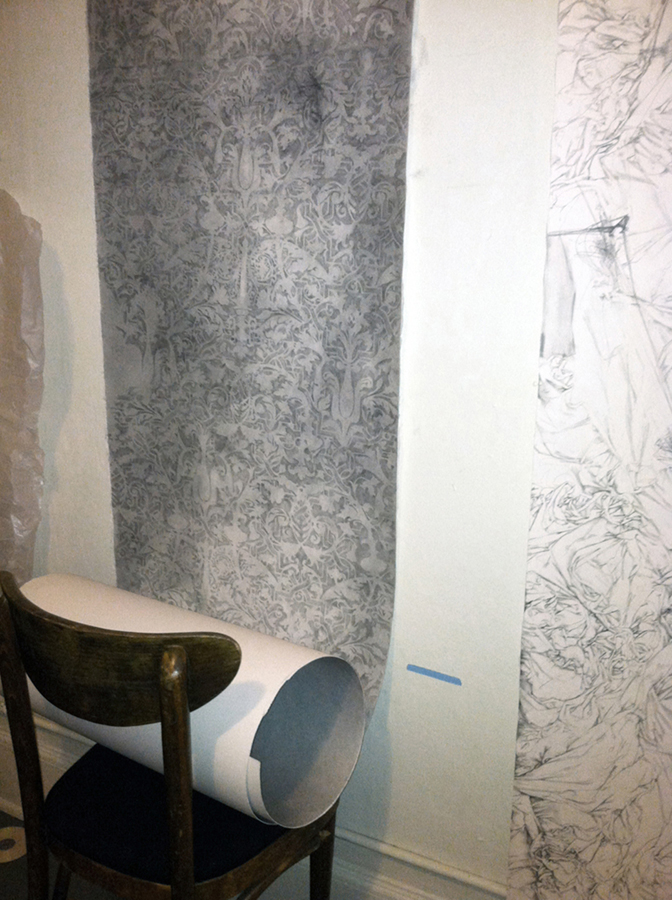 Wallpaper 1,  graphite on paper, 108 x 24 inches, 2012