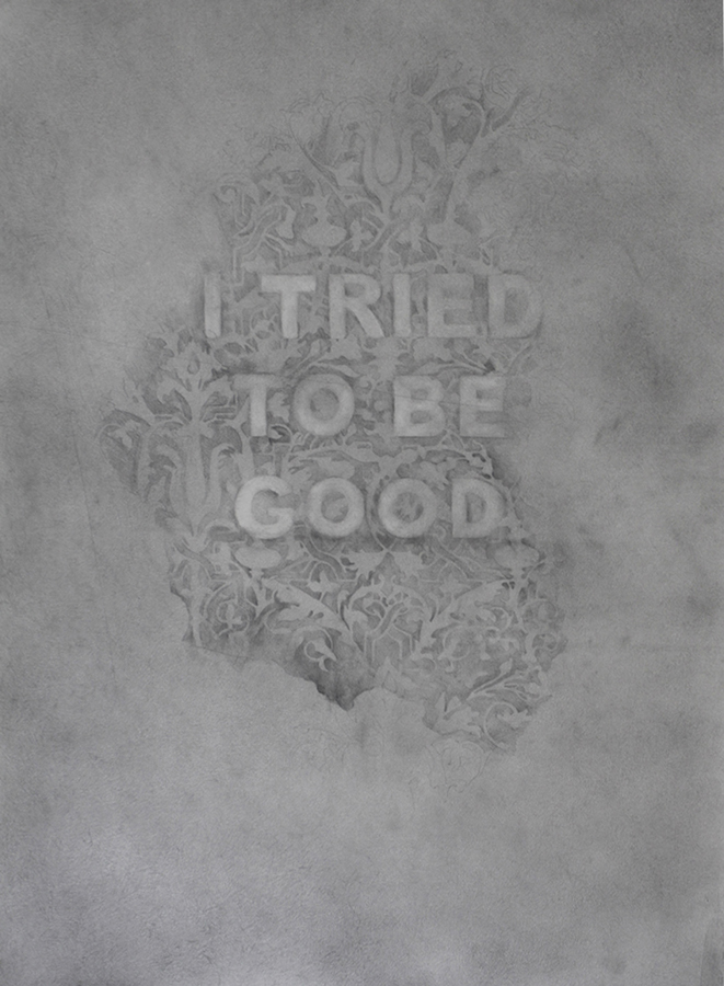 I Tried To Be Good, graphite on paper  32 x 36 inches, 2016