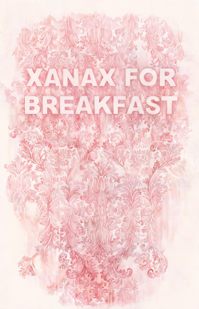 Xanax For Breakfast , colored pencil on paper, 35 x 40 inches, 2016