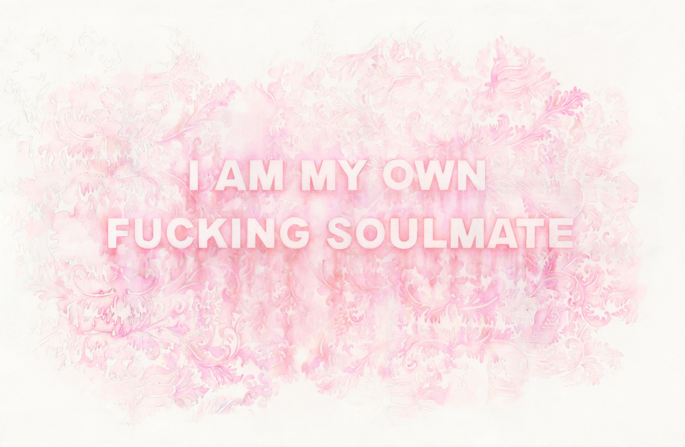 I Am My Own Fucking Soulmate , colored pencil on paper, 25 x 40 inches, 2017