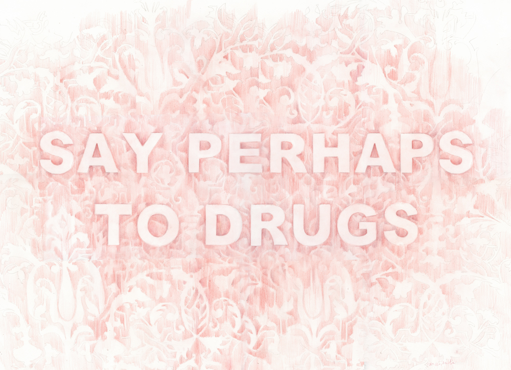 Say Perhaps To Drugs , 20 x 30 inches, colored pencil on paper, 2016