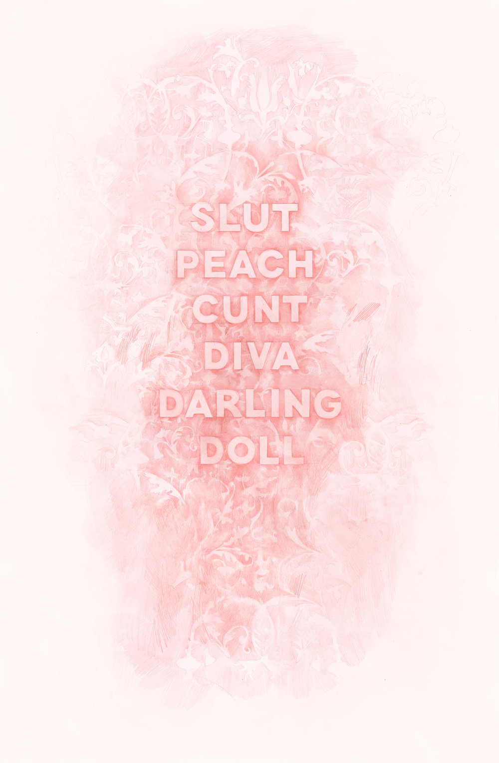 Slut Peach Cunt Diva Darling Doll,  colored pencil on paper, 25 x 40 inches, 2017