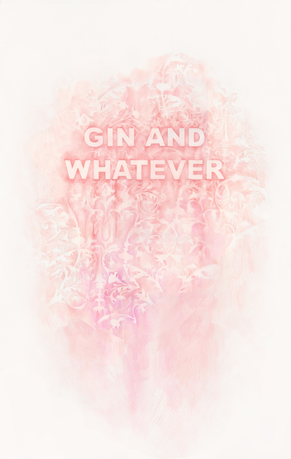 Gin And Whatever , colored pencil on paper, 22 x 34, inches, 2017