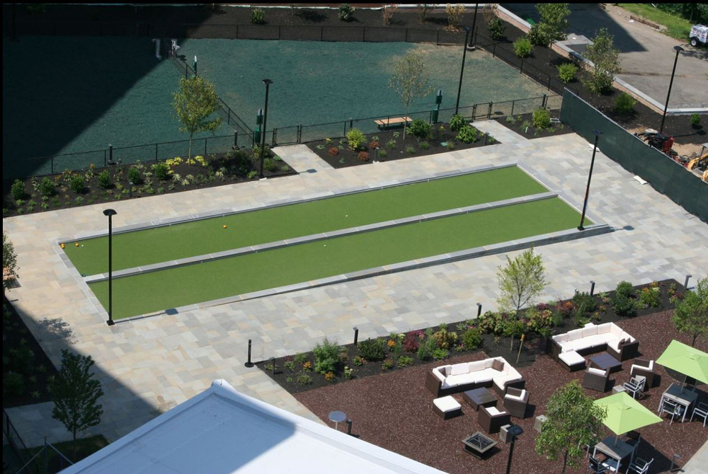 Bocce court with synthetic grass