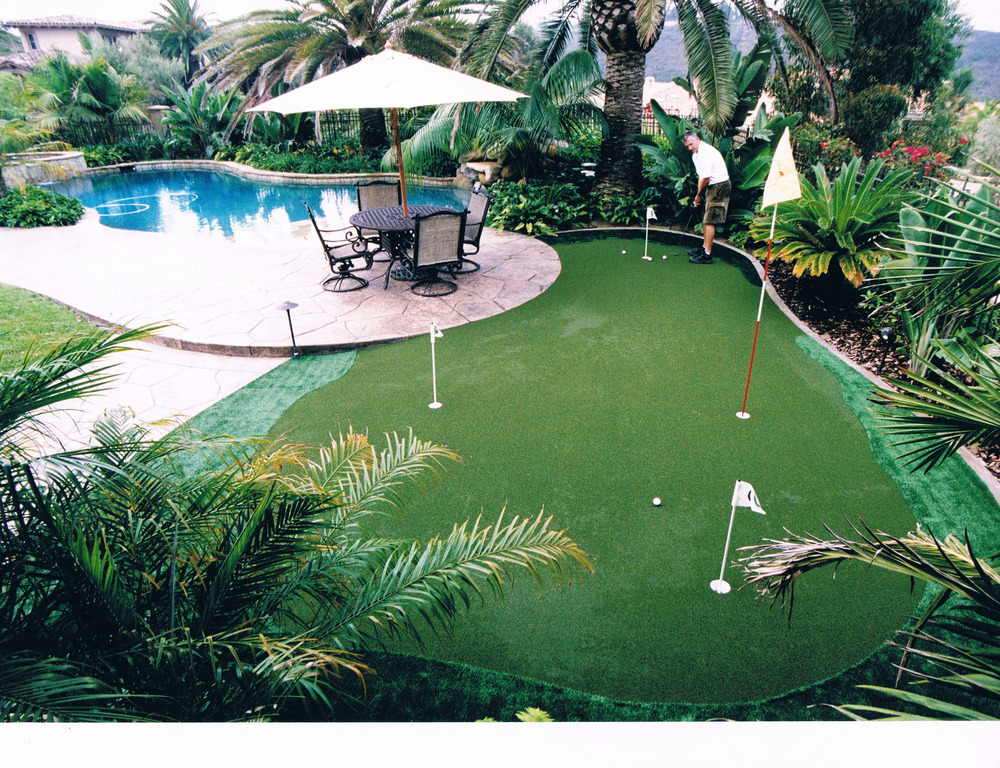 Synthetic grass with putting green