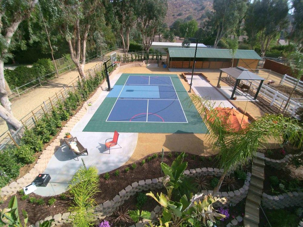 Sport court with drought tolerant landscape