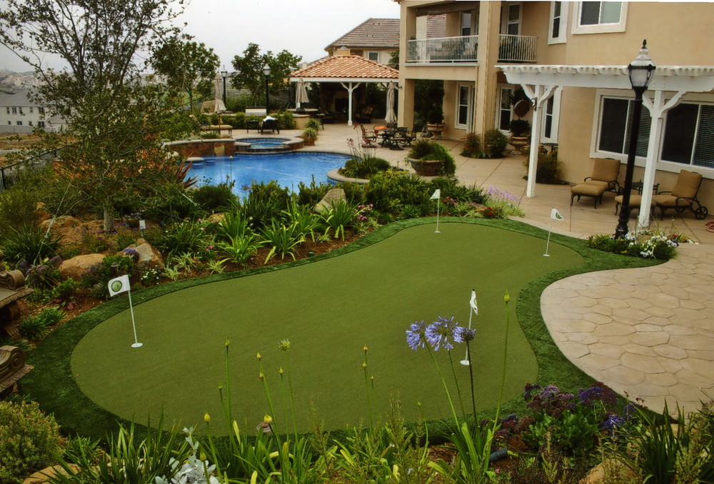 Synthetic grass and pavers