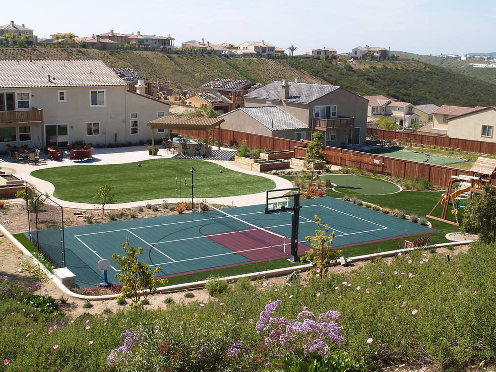 Multi sport backyard with synthetic grass
