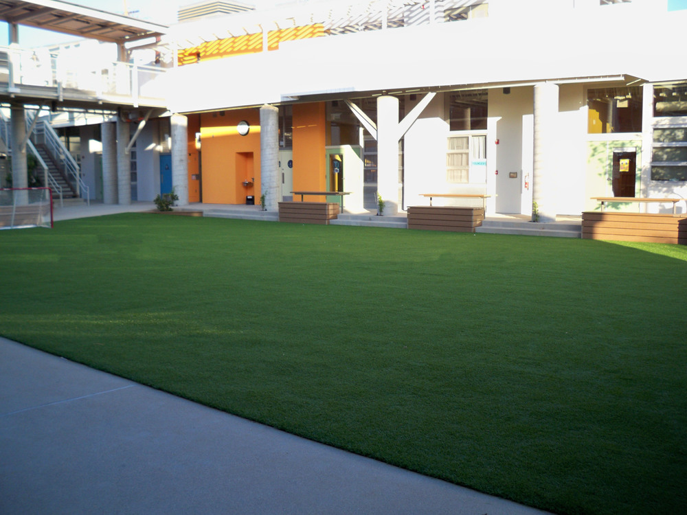 Synthetic grass in apartment complex