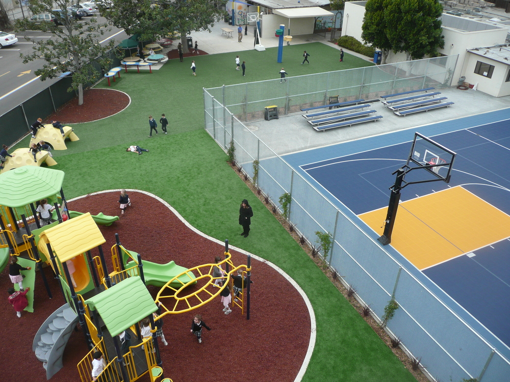 Synthetic grass in playground