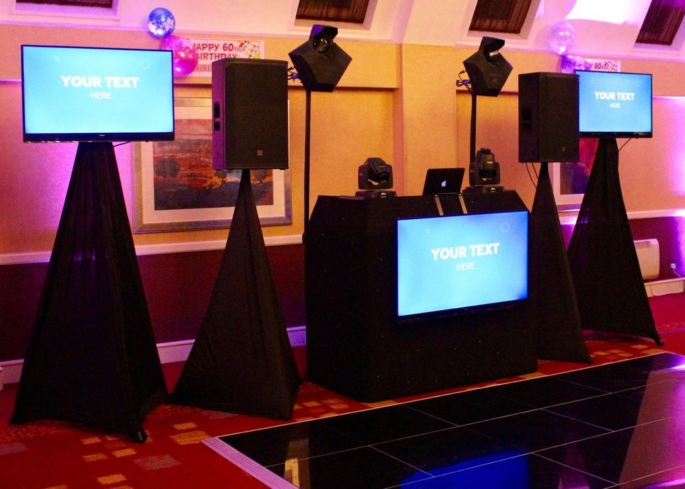 DisctillDawn Personalised Messages  - NEW FOR 2017 - Video DJ'ing - Add a personal touch with one of our Video DJ's.  We now provide LED screens with music video's, customised messages, photo's and more... (This service has limited availability so book early to avoid disappointment)