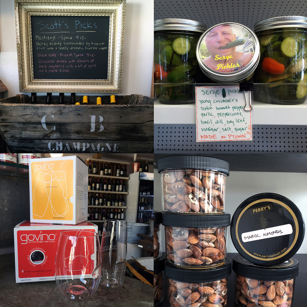 Some of our favorite picks: check out Scott's featured wines of the week, the local pickles from Serge are must, plastic wine glasses for the boat from GoVino are the seriously addictive Maroc Almonds are an essential summer - stock up item!