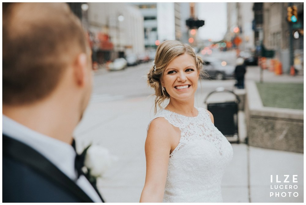 Walking creative Detroit wedding photo