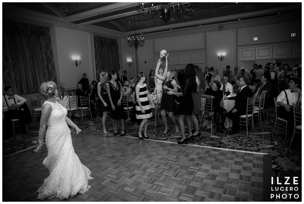 Bouquet toss - Michigan wedding