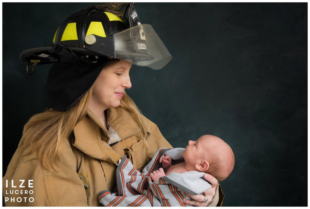Firefighter and baby