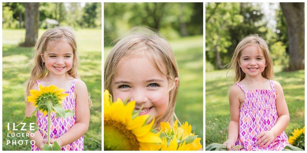 Happy sunflower photo session