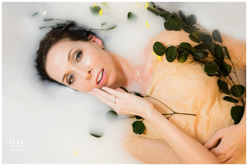 Milk bath with vintage film look