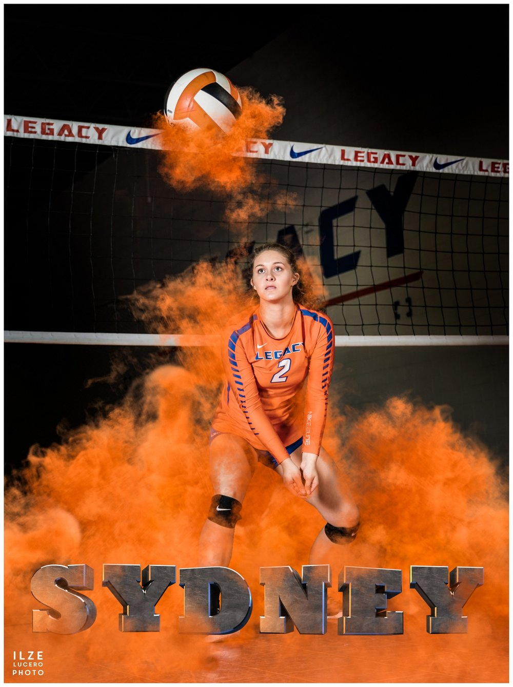 Volleyball senior photo  with smoke